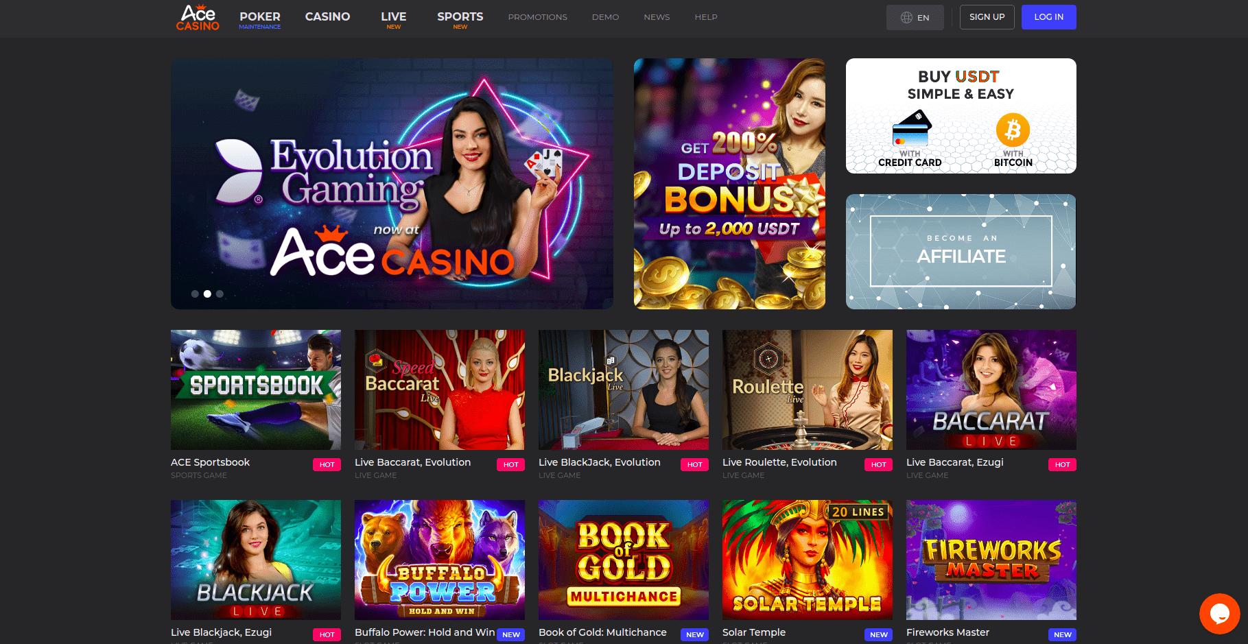 Ace Casino Home Page Desktop