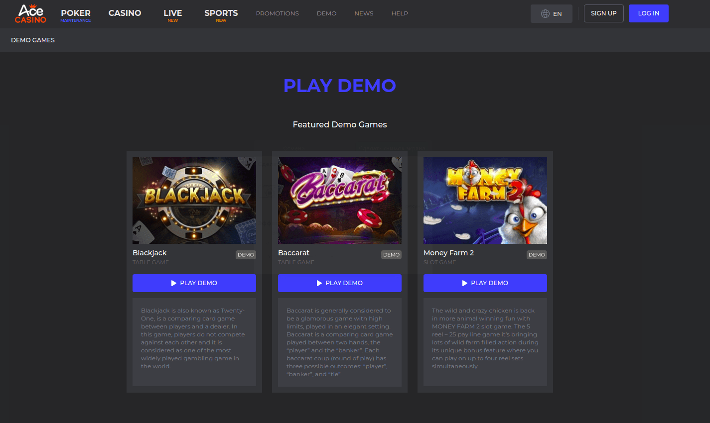 Ace Casino Play Demo Desktop
