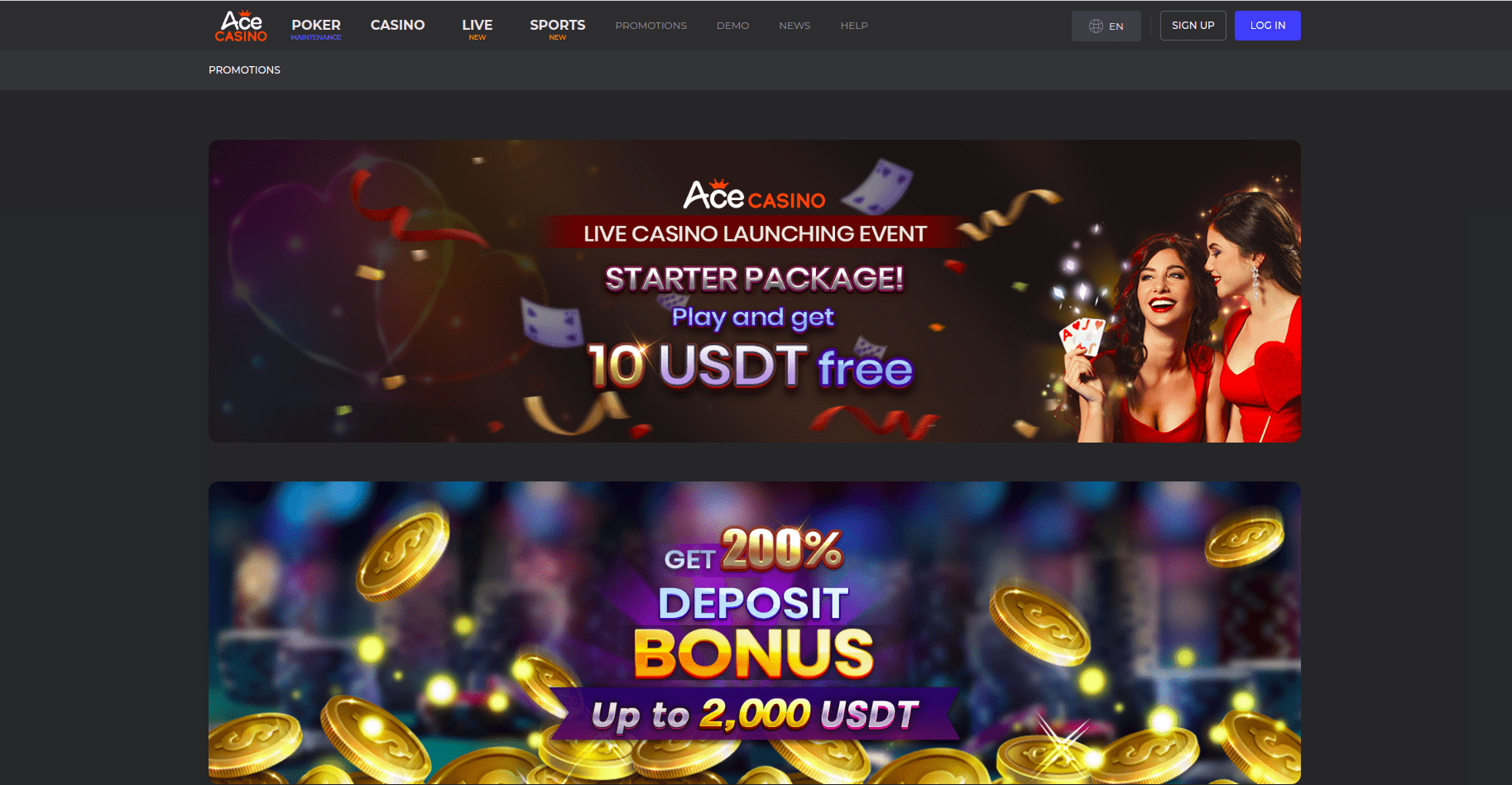 Ace Casino Promotions Desktop