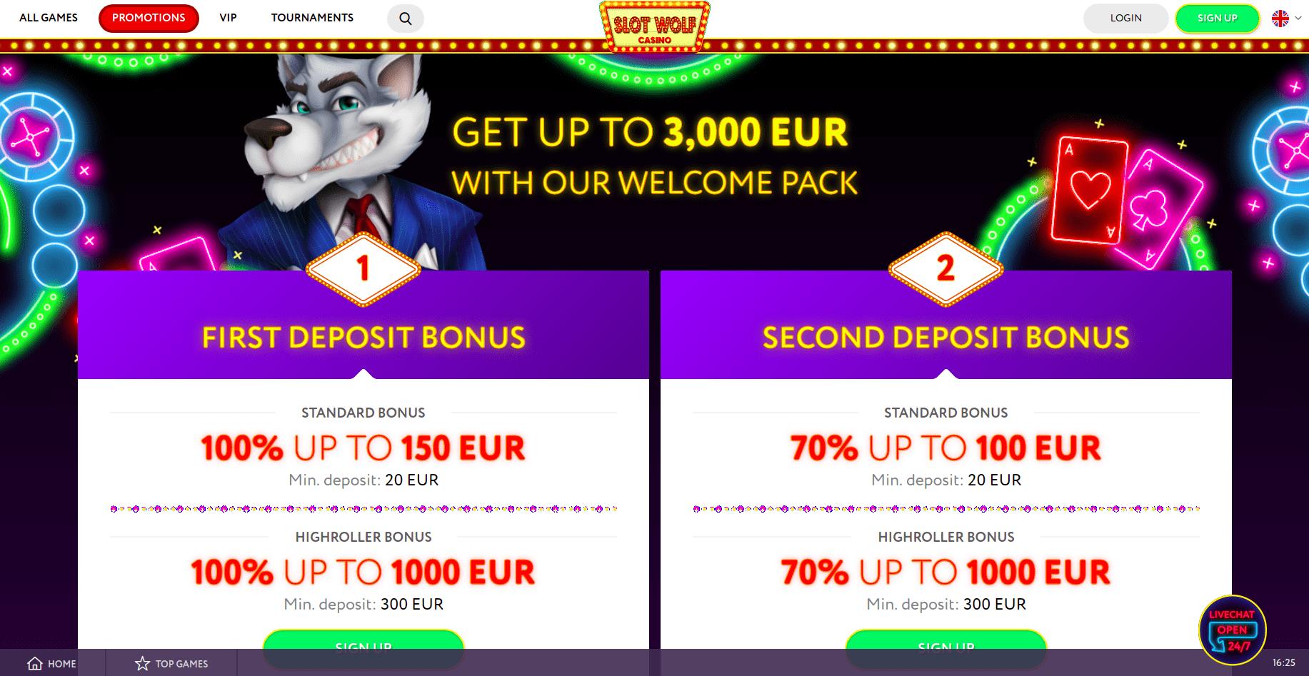 Slotwolf Bonus Page Desktop