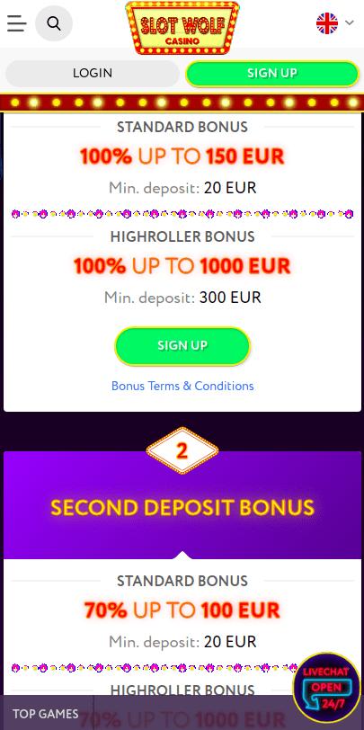Slotwolf Bonus Page Mobile