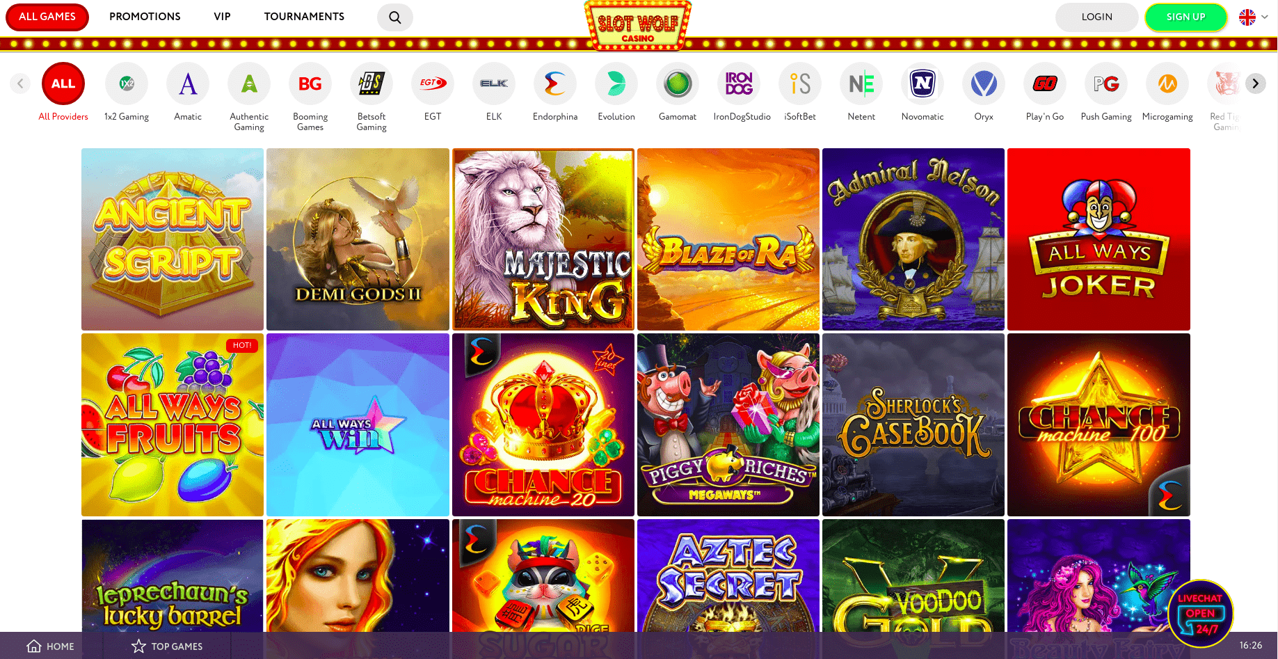 Slotwolf Game Page Desktop