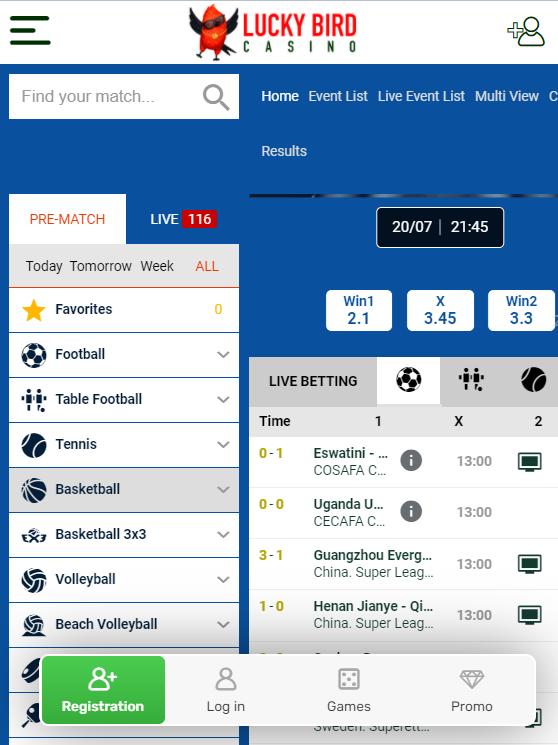 LuckyBird sport mobile