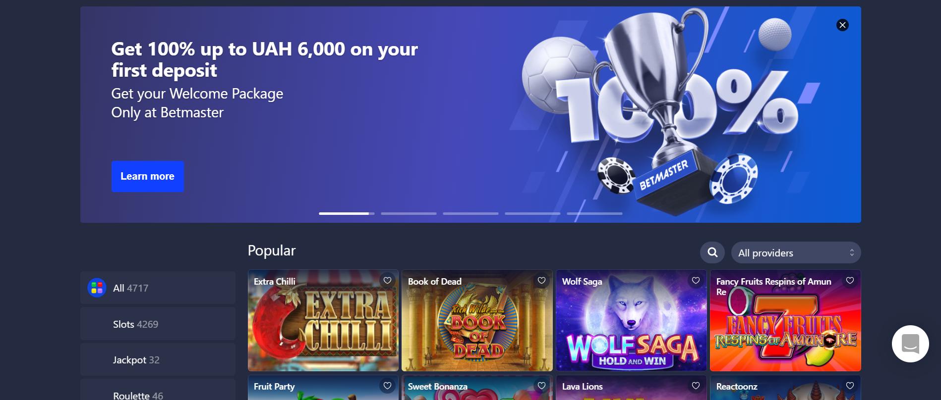 betmaster casino desktop