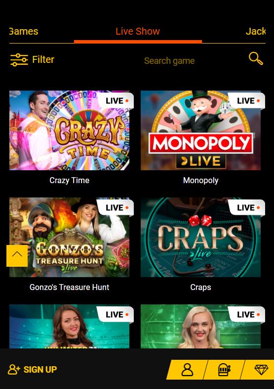 spinamba live casino mobile