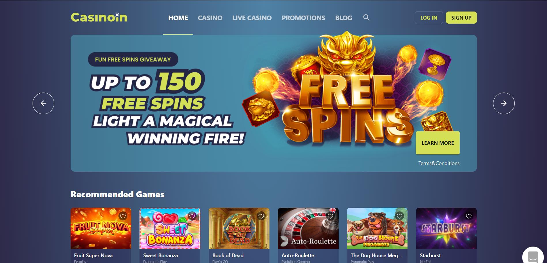 casinoin homepage desktop